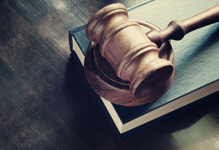 Judge's gavel in court